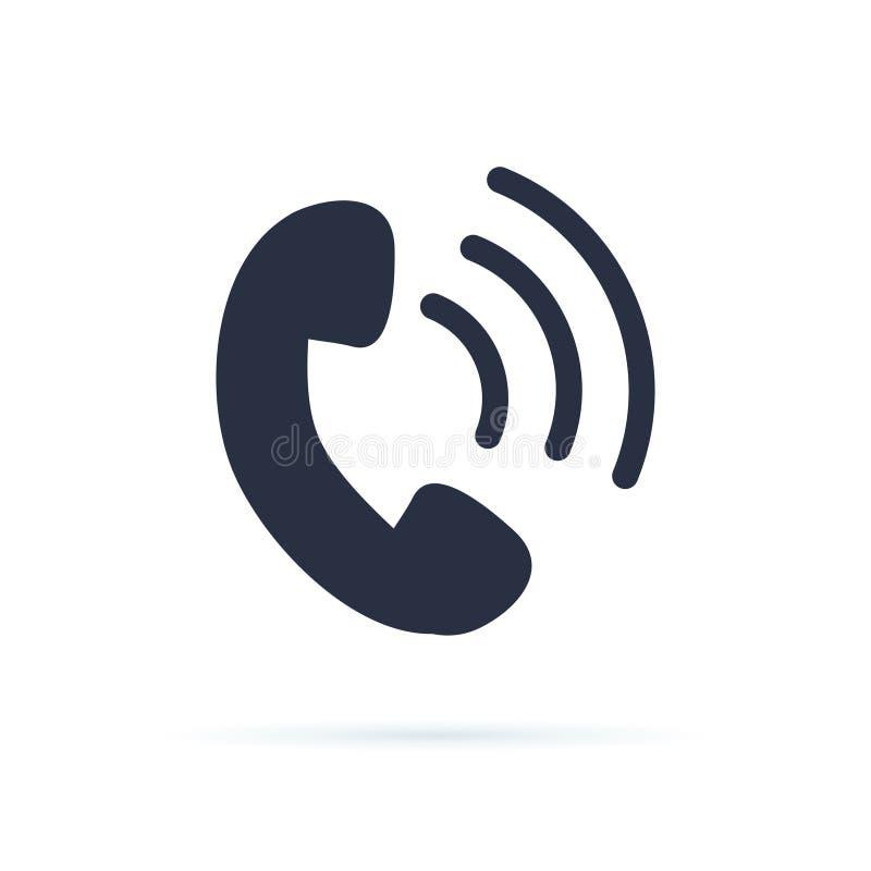 Telefon-Ikonen-Vektor Flaches Ikonentelefonsymbol Anrufrückseite, Kontakte, Telefonzeichen für Geschäftswebsite Telefonunterstütz lizenzfreie abbildung