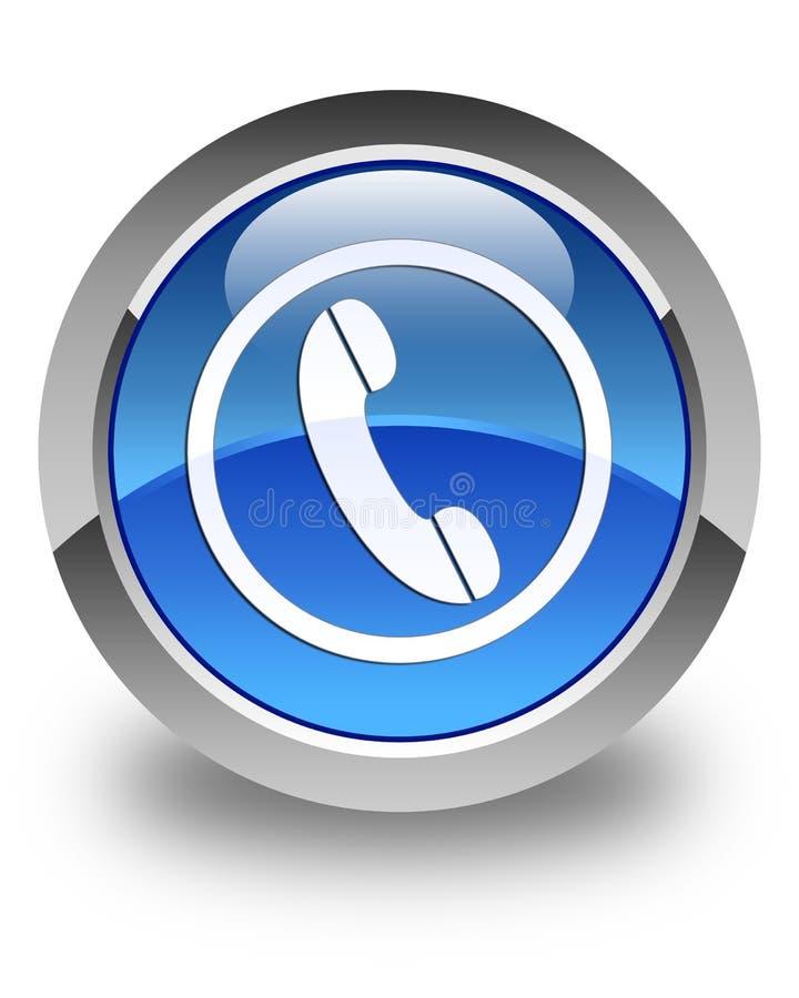 Telefon ikony glansowany błękitny round guzik ilustracja wektor