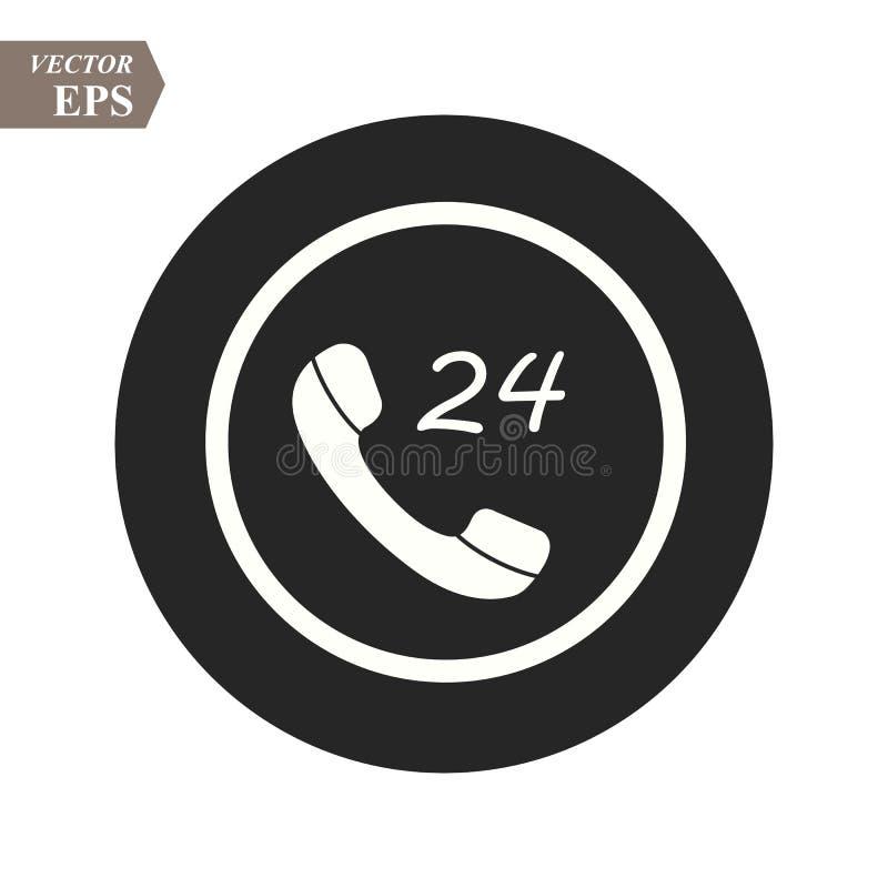 Telefon ikony logo szablonu mieszkania wektorowy styl, centrum telefoniczne 24 godziny ikony w modnym ilustracji