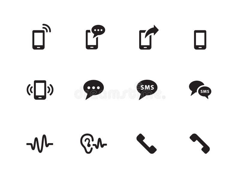 Telefon ikony na białym tle. ilustracji