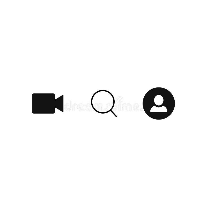 Telefon ikony Wideo, rewizja i użytkownik, Proste płaskie wektorowe ikony ustawiać na białym tle EPS10 ilustracji