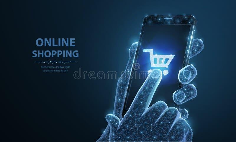 Telefon komórkowy Abstrakcjonistyczna wektorowa zbliżenie ilustracja smartphone w mężczyzna mienia palcach i ręce dotyka shopingc royalty ilustracja