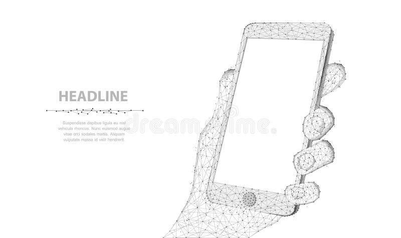 Telefon komórkowy Abstrakcjonistyczny poligonalny wireframe zbliżenia telefon z pustego bielu pustym ekranem w mienie mężczyzny r ilustracja wektor