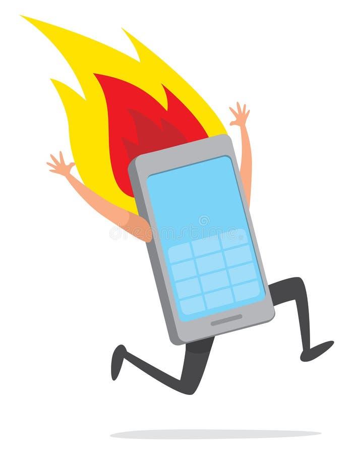 Telefon komórkowy biega desperacko na ogieniu ilustracja wektor