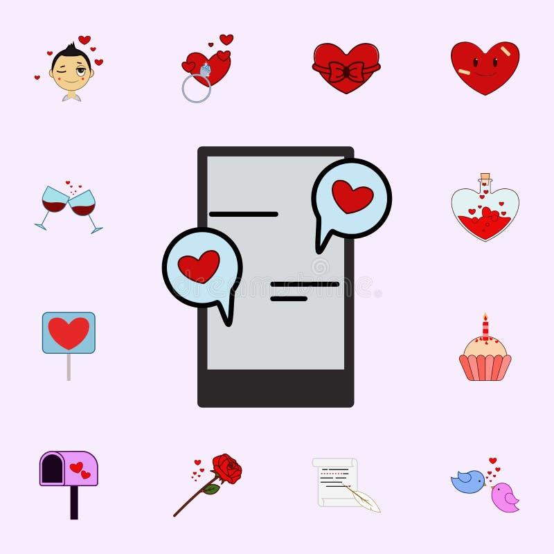 Telefon komórkowy, gadka, miłość, kierowa valentine s dnia ikona Kocha ikony ogólnoludzkiego ustawiającego dla sieci i wiszącej o royalty ilustracja