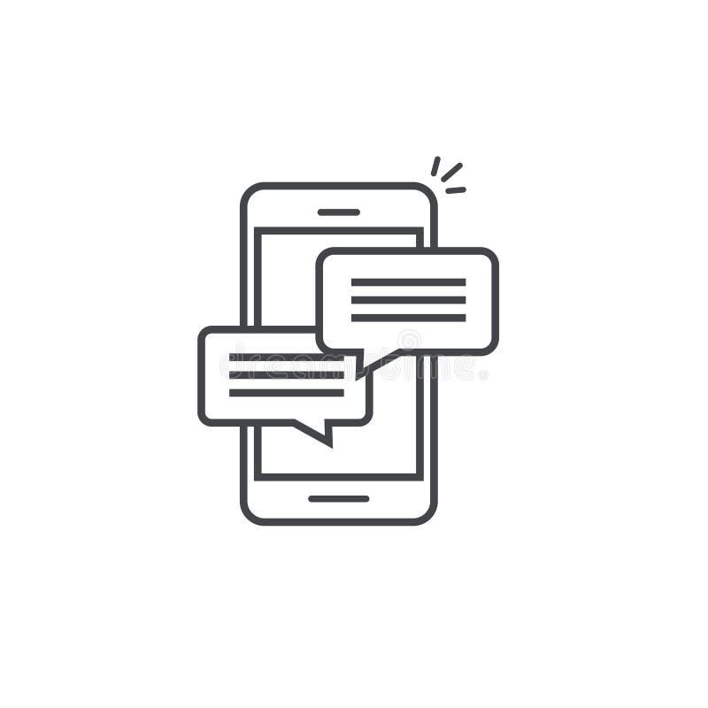 Telefon komórkowy gadki wiadomości powiadomień wektorowa ikona odizolowywający kreskowy kontur, smartphone gawędzenia bąbla mowa  ilustracja wektor