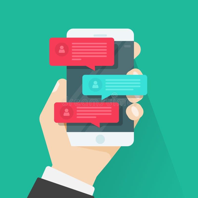 Telefon komórkowy gadki wiadomości powiadomienia, gawędzenie, pojęcie online opowiadać ilustracji
