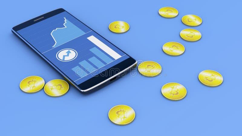 Telefon komórkowy i Bitcoin, cryptocurrency, elektroniczny pieniądze, wirtualna waluta, przemiany royalty ilustracja
