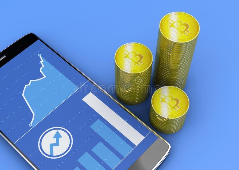 Telefon komórkowy i Bitcoin, cryptocurrency, elektroniczny pieniądze, wirtualna waluta, przemiany ilustracja wektor
