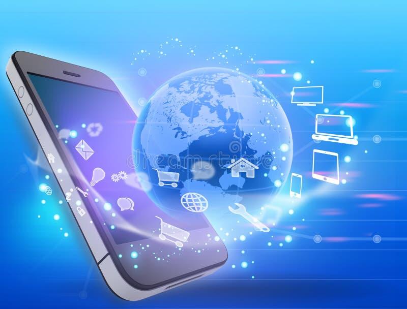 Telefon komórkowy i kula ziemska z płodozmiennymi ikonami ilustracja wektor
