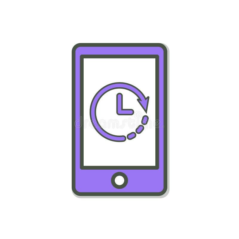 Telefon Komórkowy ikona z zegaru znakiem Telefon Komórkowy ikona i odliczanie, ostateczny termin, rozkład, planistyczny pojęcie ilustracja wektor