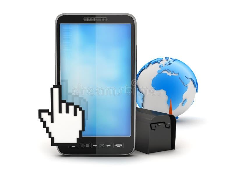 Telefon komórkowy, kursor ręka, skrzynka pocztowa i ziemi kula ziemska, royalty ilustracja