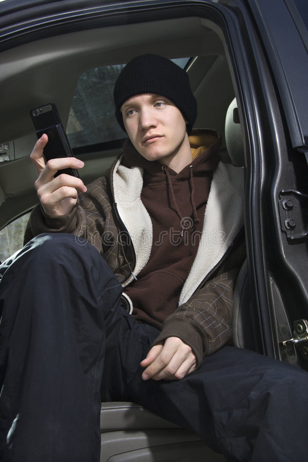 telefon komórkowy ma nastoletnią zdjęcia royalty free