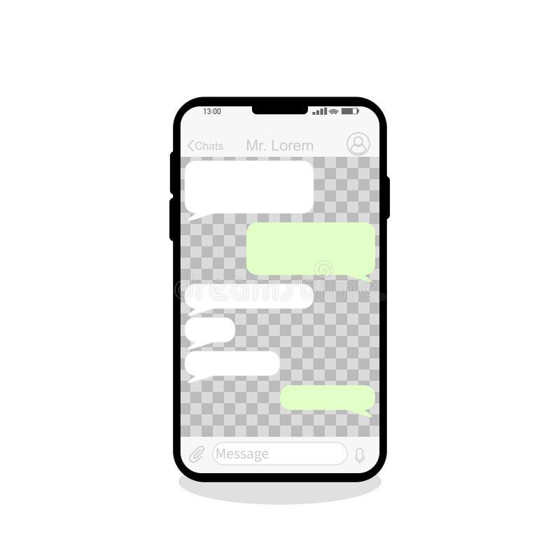 telefon komórkowy ogólnospołeczne sieci chating pustego tło ilustracji