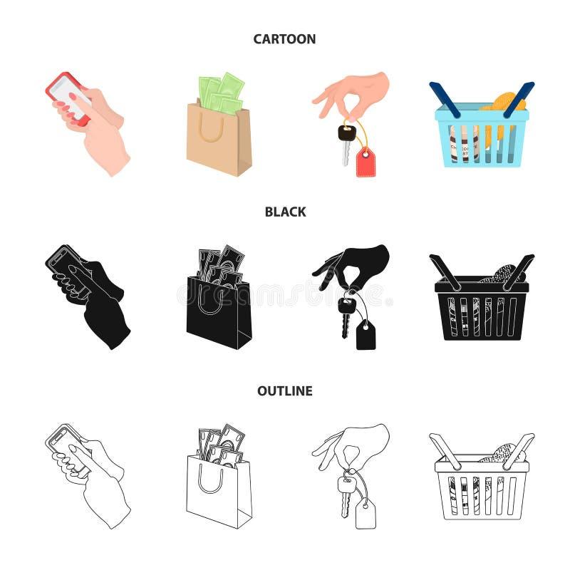 Telefon komórkowy, pakunek z pieniądze i inna sieci ikona w kreskówce, czerń, konturu styl klucz w ręce, kosz z jedzeniem ilustracja wektor