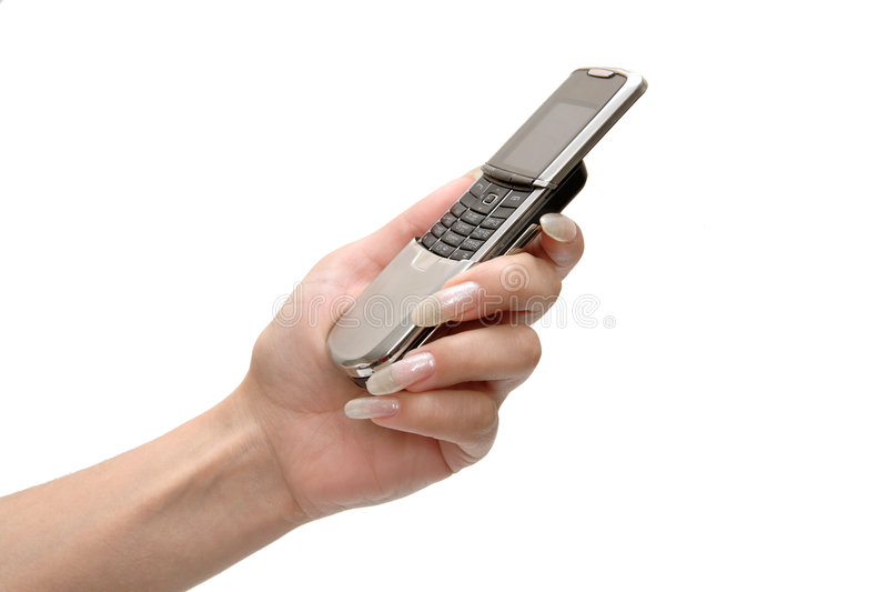 telefon komórkowy ręka kobiety zdjęcie stock