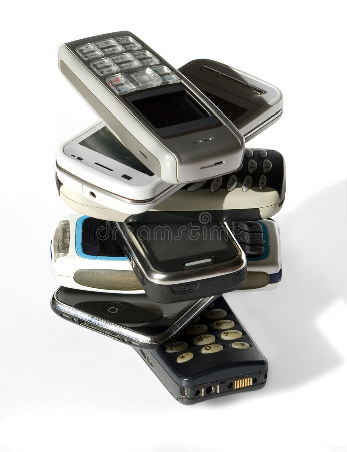 telefon komórkowy sterta fotografia stock