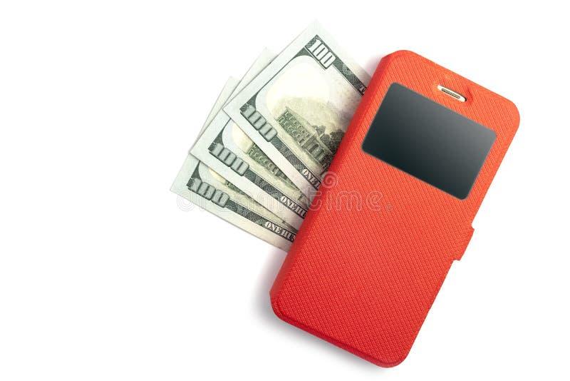 Telefon komórkowy w czerwonej skrzynce kłama na trzysta USA dolarach na białym tle Online przychodu pojęcie, połączenie z interne obraz royalty free