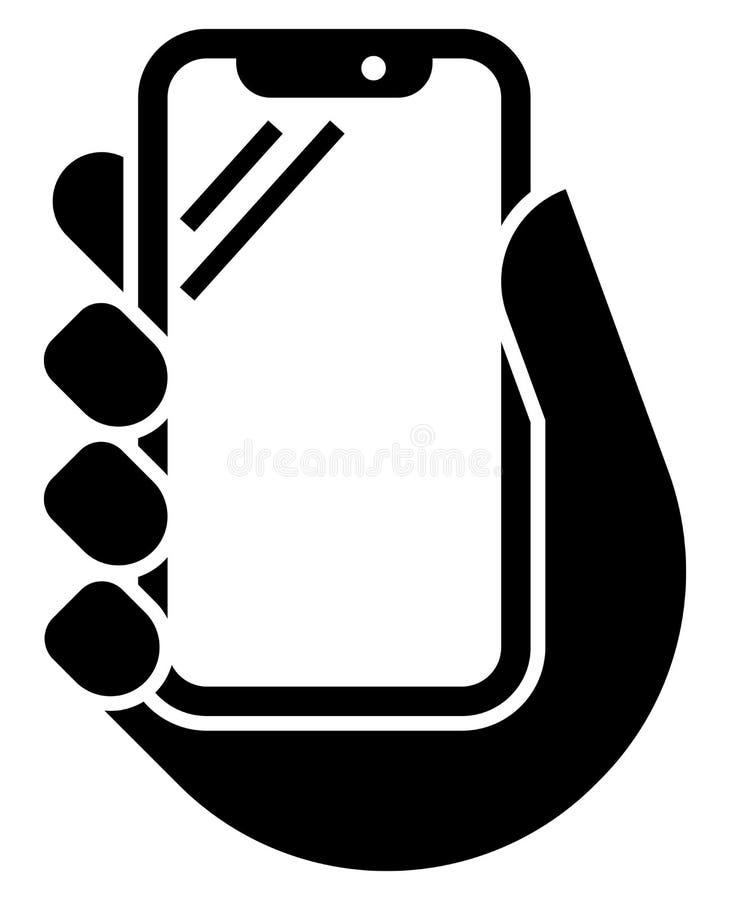 Telefon komórkowy w ręki ikonie ilustracja wektor