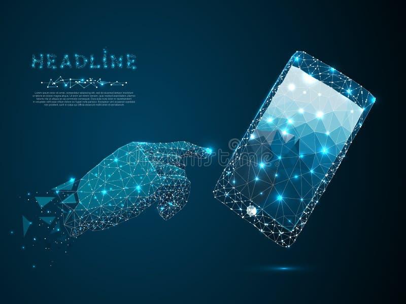 Telefon komórkowy Wektorowy poligonalny wireframe zbliżenia telefon komórkowy z mężczyzn palcami i ręką Smartphone pojęcie ilustracji