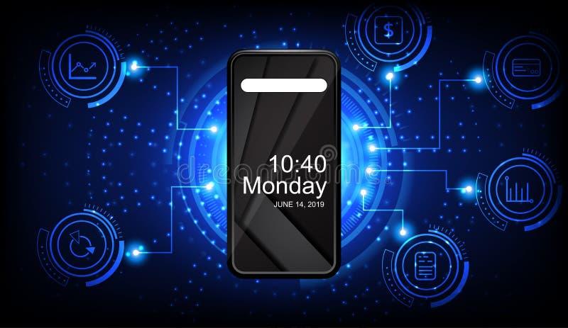 Telefon komórkowy z błękitnymi związek ikonami na ciemnym tle i liniami ilustracji