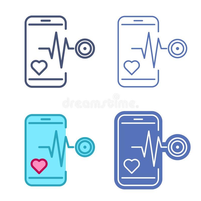 Telefon komórkowy z bicie serca symbolem Telemedicine wektorowy kontur ilustracji