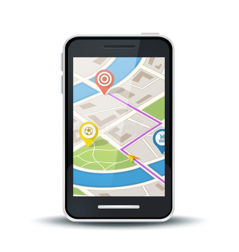 Telefon komórkowy z gps mapy zastosowaniem ilustracja wektor