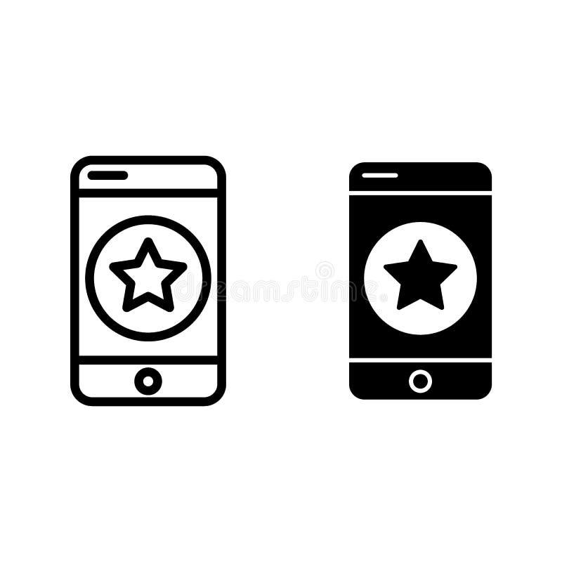 Telefon komórkowy z gwiazdy linią i glif ikoną Faworyci na smartphone wektorowej ilustraci odizolowywającej na bielu cellphone royalty ilustracja