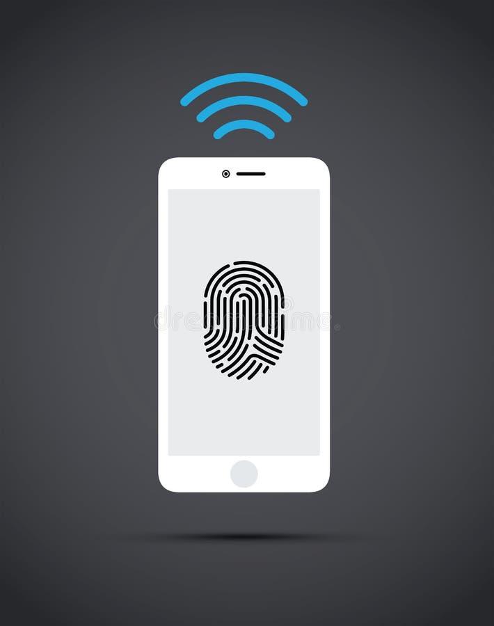 Telefon komórkowy z odcisk palca technologią ilustracja wektor