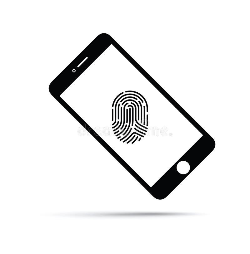Telefon komórkowy z odcisk palca technologią ilustracji