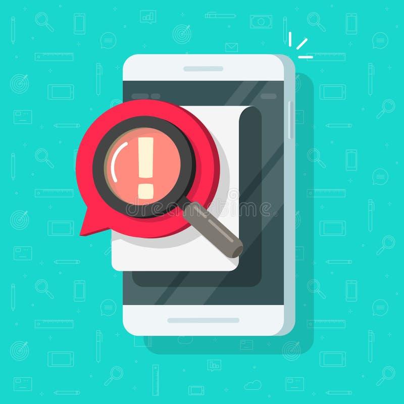 Telefon komórkowy z powiadomienie błędu ostrzeżenia wektorową ilustracją, płaską kreskówki smartphone uwagą lub niebezpieczeństwo royalty ilustracja