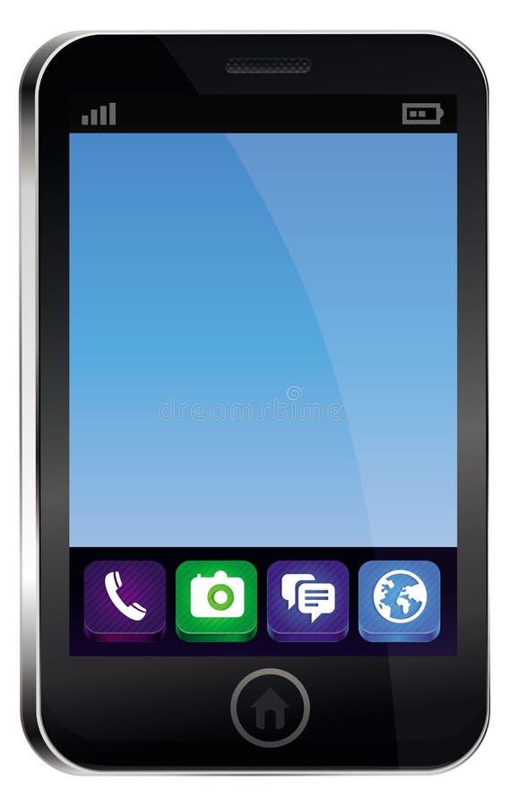 Telefon komórkowy z pustym błękitny ekranem royalty ilustracja