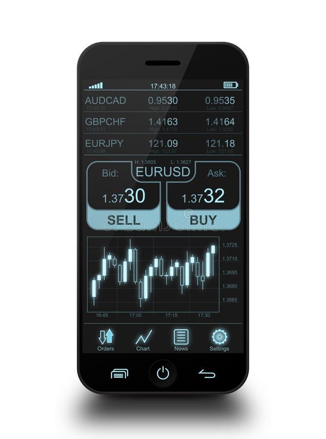 Telefon komórkowy z rynkami walutowymi zdjęcie stock