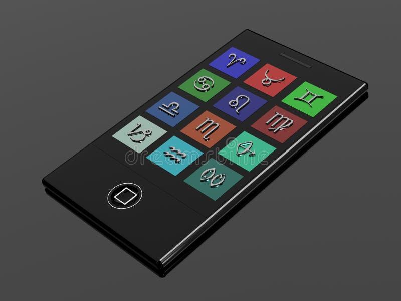 Telefon komórkowy z zodiaków znakami royalty ilustracja