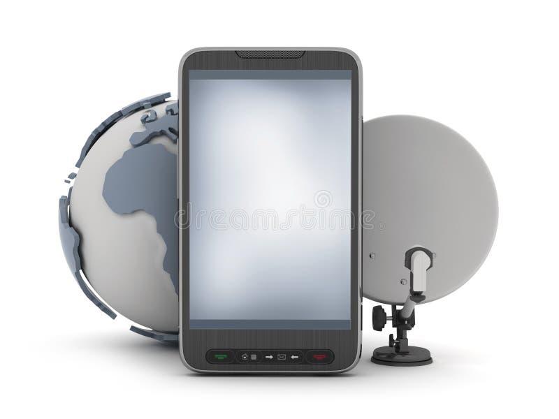 Telefon komórkowy, ziemska kula ziemska i satelita, ilustracja wektor