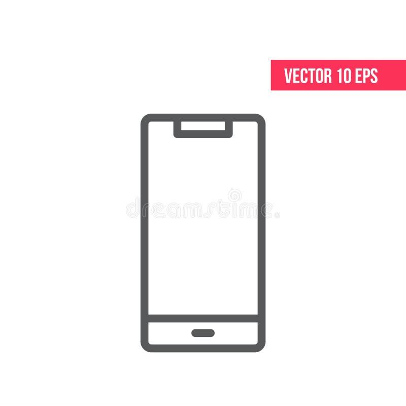 Telefon kom?rkowy kreskowa ikona Smartphone z bielu ekranu wektorem eps10 royalty ilustracja