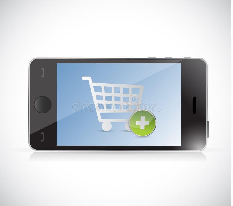 Telefon med en knapp för shoppingvagn. direktanslutet royaltyfri illustrationer