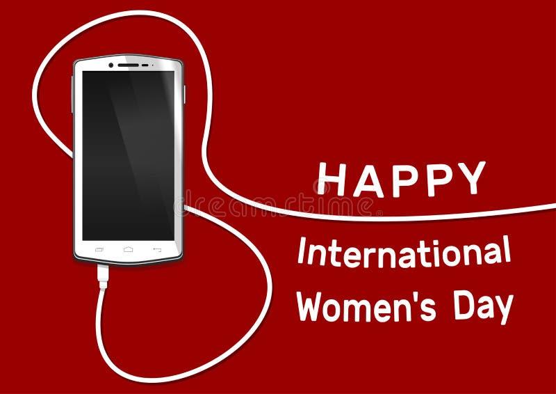 Telefon med linjen åtta tråd Smartphone för översikts8 mars Lyckligt internationella kvinnors dagkort stock illustrationer