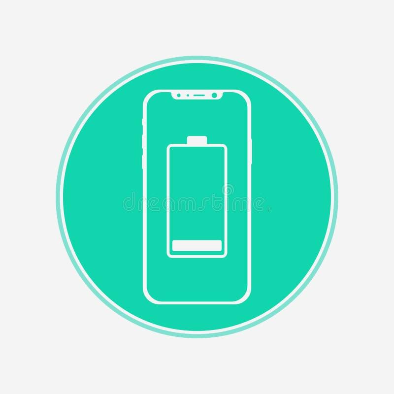 Telefon med symbol för tecken för batterivektorsymbol vektor illustrationer
