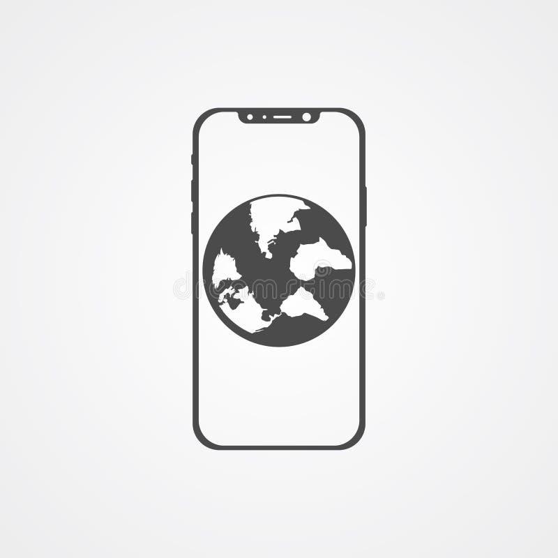 Telefon med symbol för tecken för jordklotvektorsymbol stock illustrationer