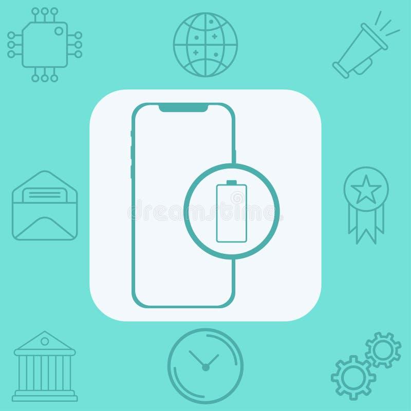Telefon med symbol f?r tecken f?r batterivektorsymbol royaltyfri illustrationer
