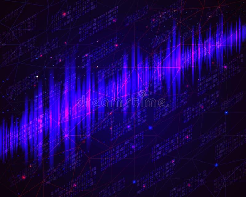 Telefon mit Planetenerde und binärem Code Blauer glühender Datenfluss als Binärzahlen vektor abbildung
