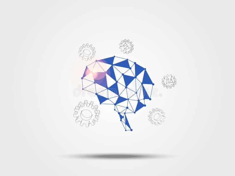 Telefon mit Planetenerde und binärem Code Das vorbildliche Umgeben des Gehirns mit Gang 3d stellt Konzept der Idee und der Innova stock abbildung