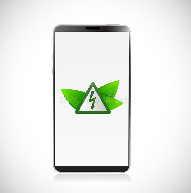 telefon och elektricitetssymbol- och gräsplansidor vektor illustrationer