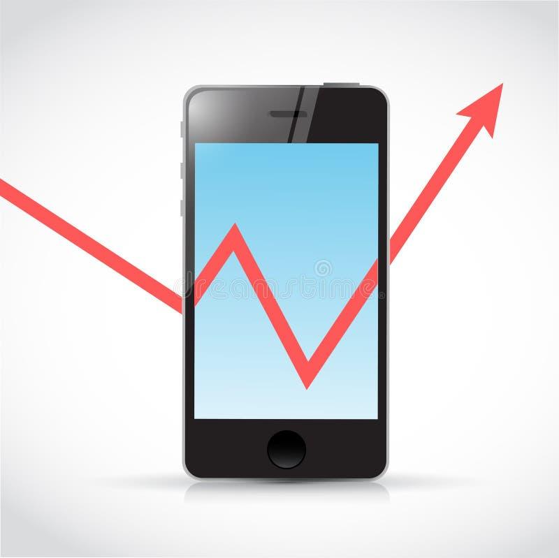 Telefon och illustration för pil för affärsgraf stock illustrationer