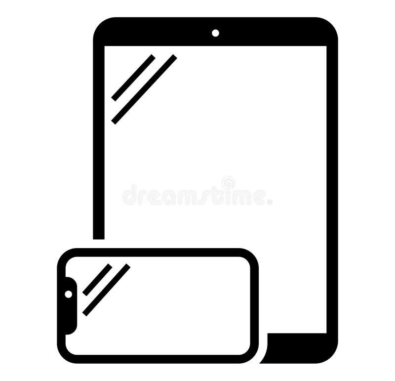 Telefon- och minnestavlasymbol stock illustrationer