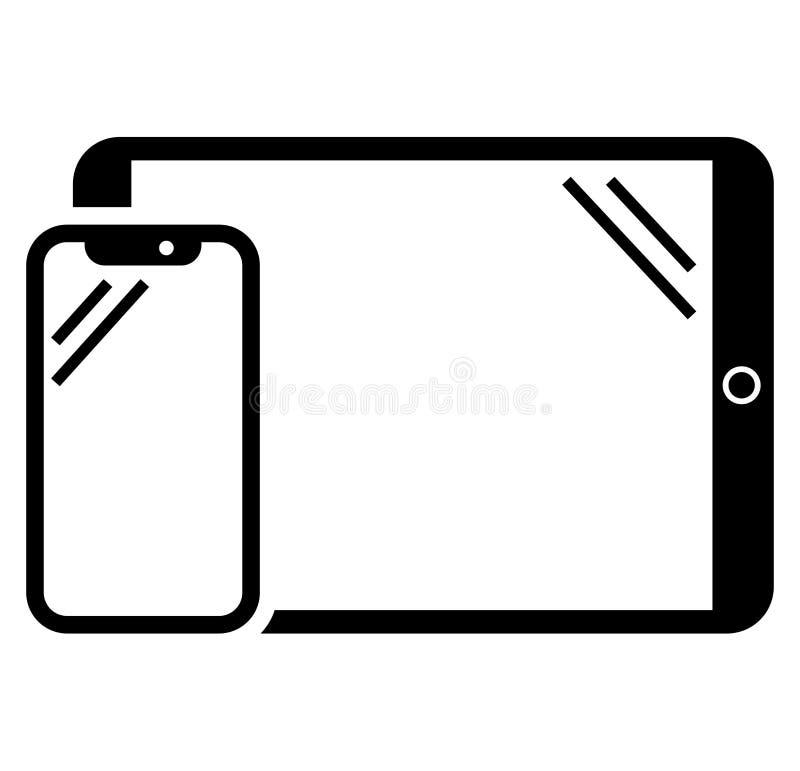 Telefon- och minnestavlasymbol royaltyfri illustrationer
