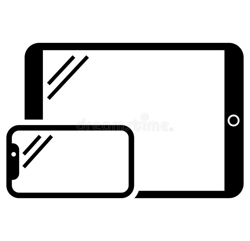 Telefon- och minnestavlasymbol vektor illustrationer