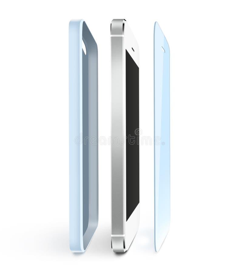 Telefon ochrony film i skrzynka stojak Smartphone pokazu ochraniacza szkło royalty ilustracja
