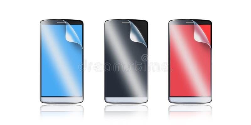 Telefon ochrony film na ekranie Smartphone pokazu ochraniacza szkło royalty ilustracja